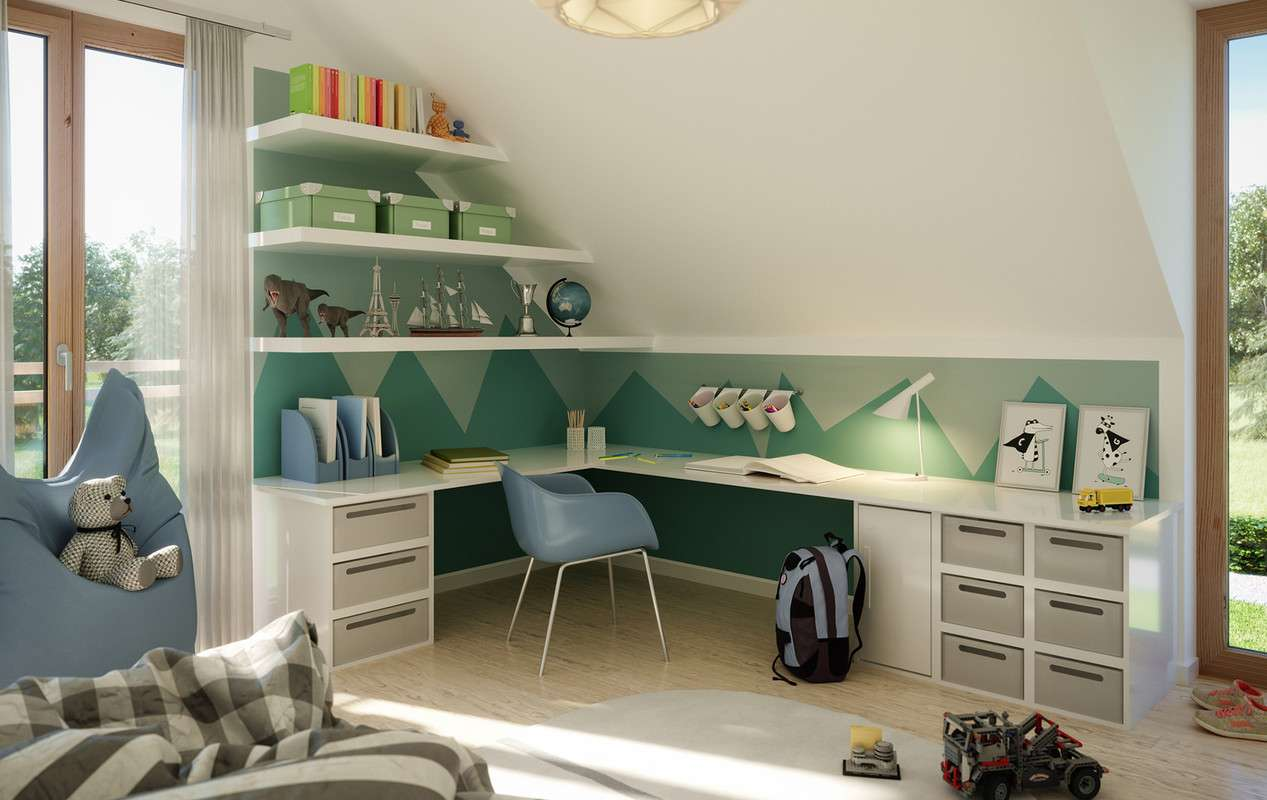 Kinderzimmer in Grüntönen