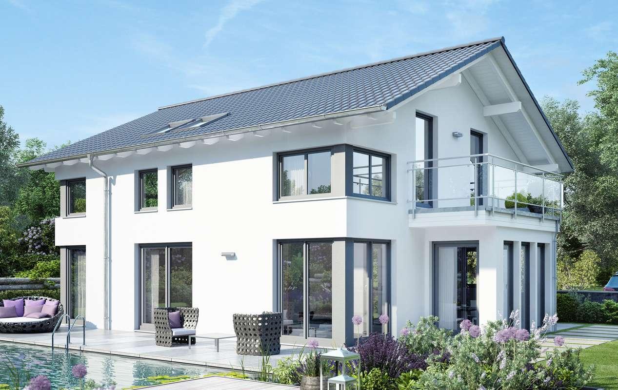 <p><strong>Helles, elegant-modernes Traumhaus mit Erker, Balkon und Eingangsüberdachung</strong></p>