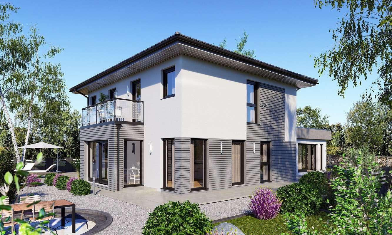 Die Kombination aus grauen und weißen Flächen überzeugen Bauherren mit einer Vorliebe für moderne und zeitlose Architektur.