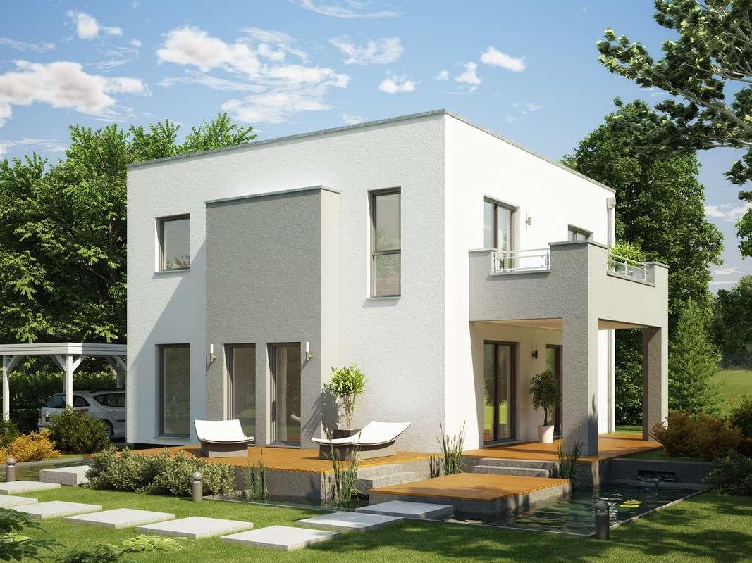 <p><strong>Elegant-modernes Traumhaus mit XL-Erker und Balkon-Pergola</strong></p>