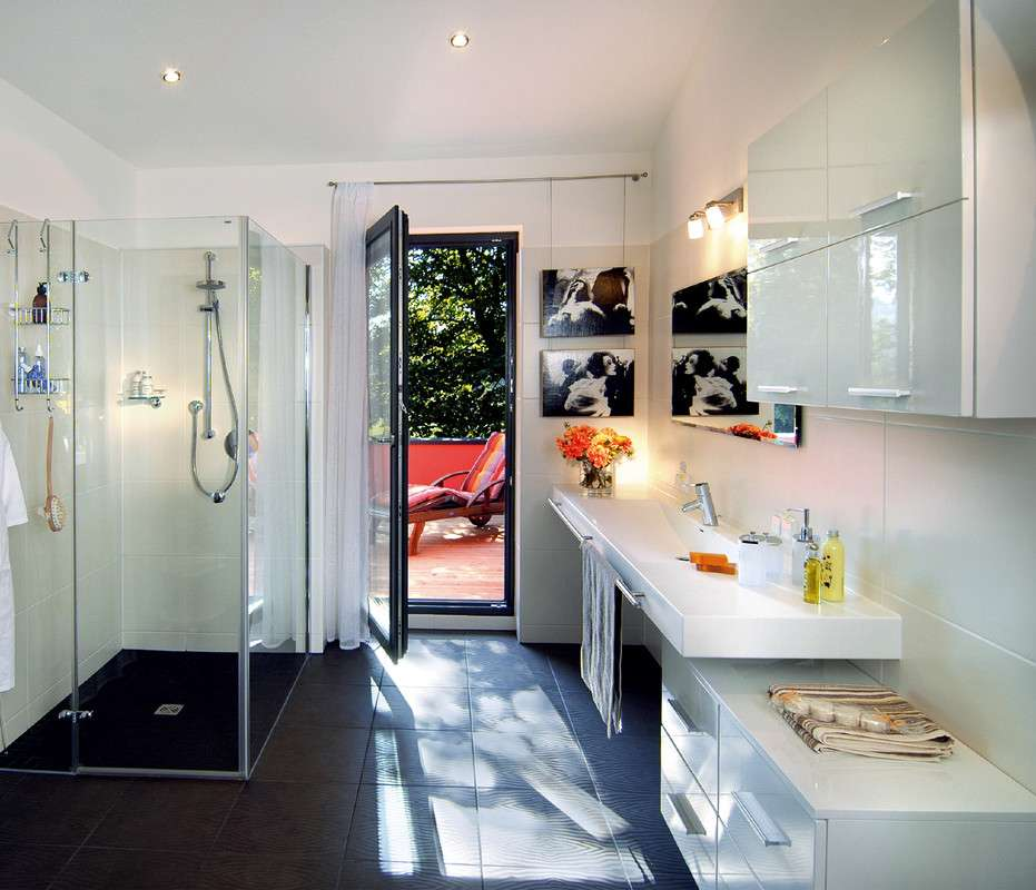 Modernes Badezimmer In Schwarz Und Weiß