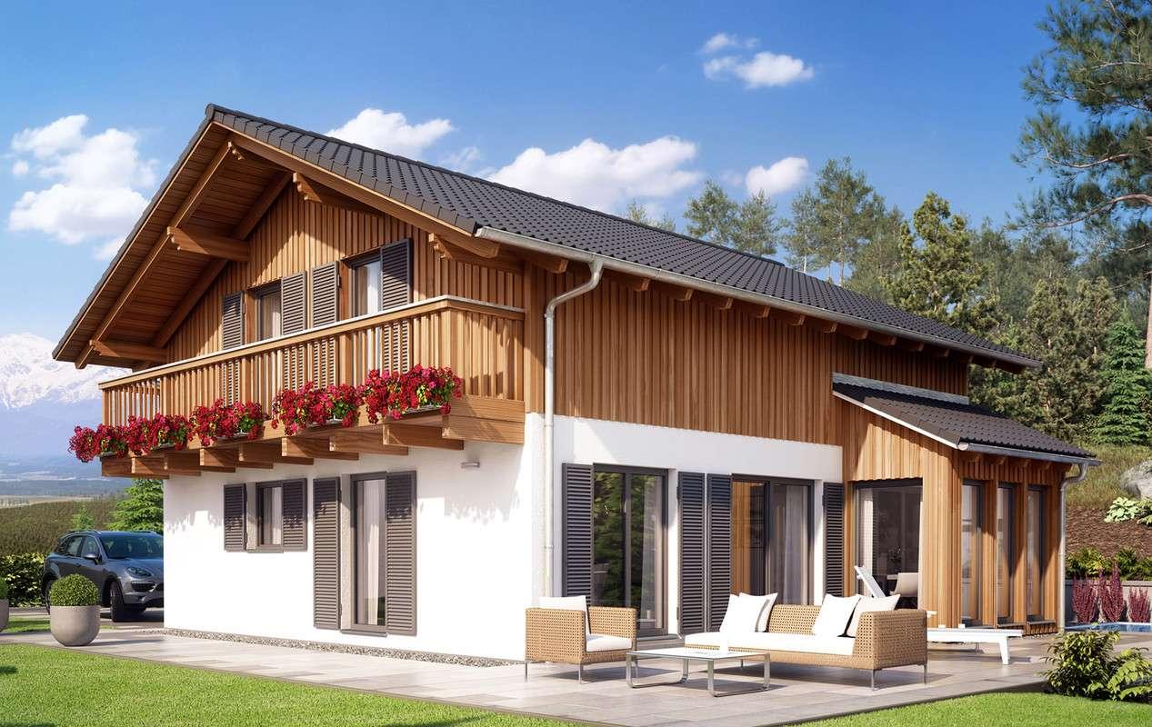 <p><strong>Traumhaus im alpinen Stil mit Pultdach-Wintergarten-Erker und Balkon</strong></p>