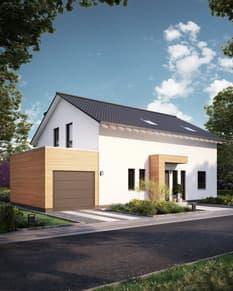 Fassade mit Naturholzelementen