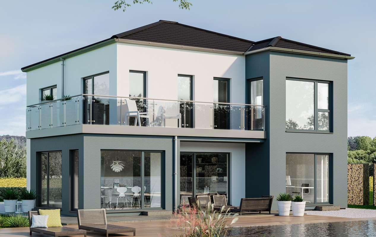 <p><strong>Individuelles Einfamilienhaus mit Flachdach-Querhaus und Übereck-Erker mit Balkon</strong></p>