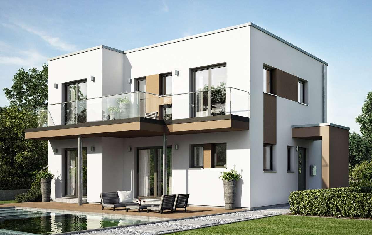 <p><strong>Repräsentatives Einfamilienhaus mit Eck-Querhaus und Terrassenbalkon</strong></p>