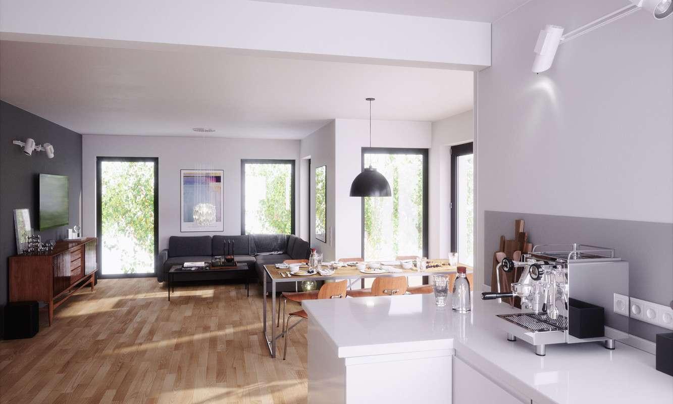 Modern und stilsicher präsentiert sich der Wohnbereich des Musterhauses Living 148 von ELK.