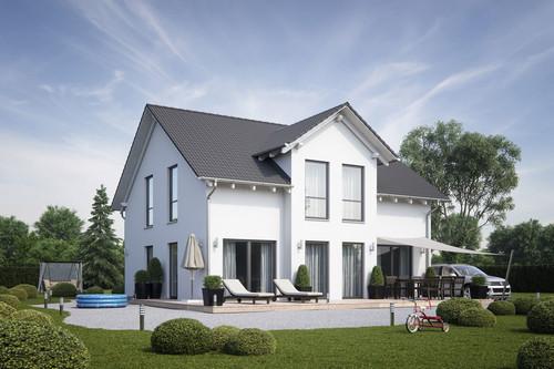 Moderne Architektur mit viel Spielfläche vor dem Haus