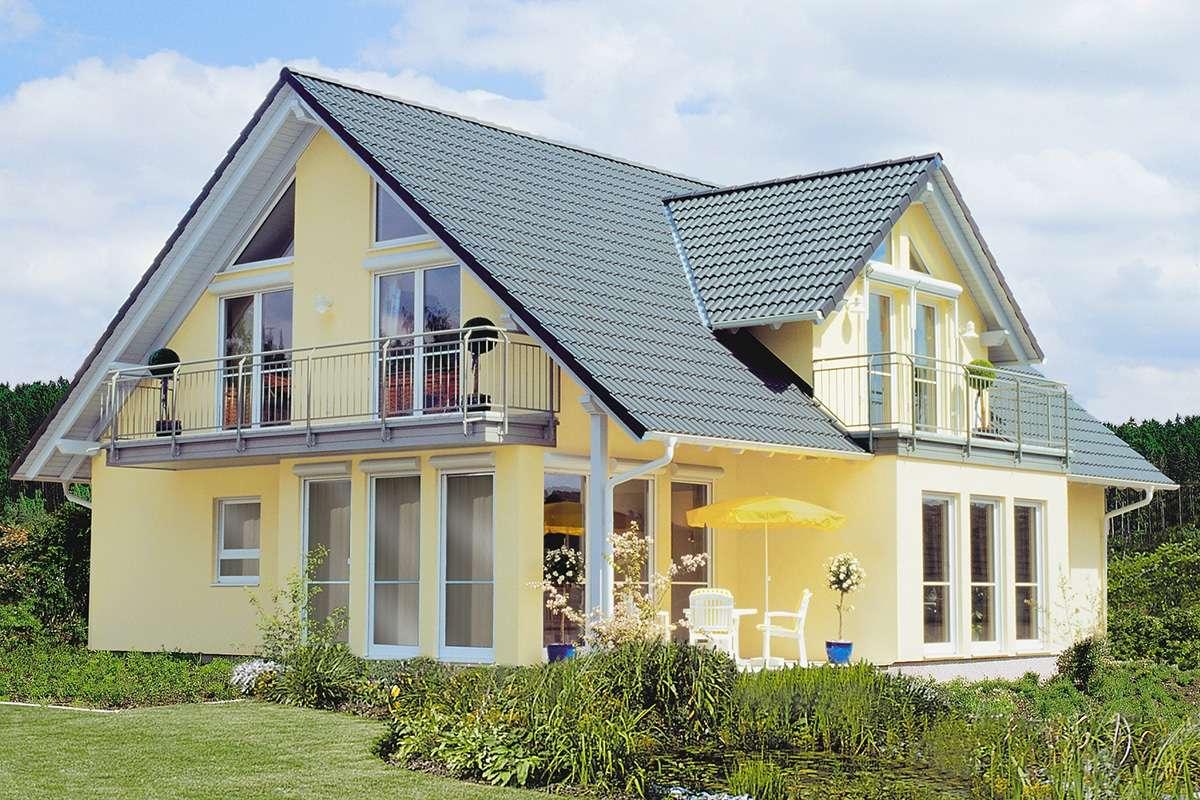 Gelbe sommerliche Fassade