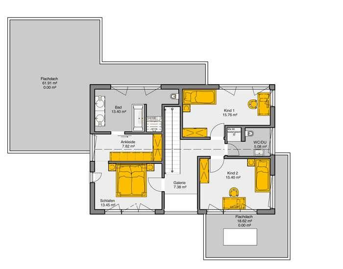 Der Dachgeschoss Grundriss des Musterhauses Vitalis von Büdenbender bietet genügend Platz für die ganze Familie.