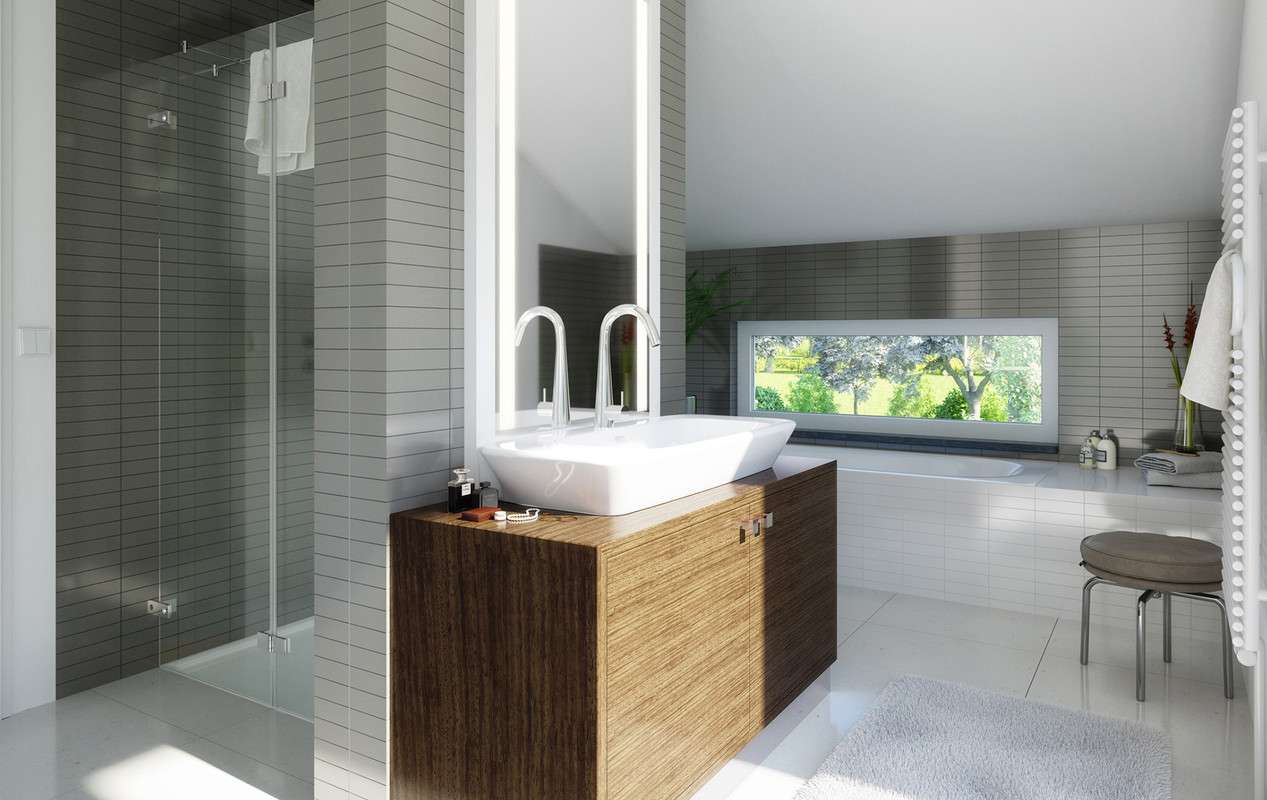 Modernes Badezimmer mit Blick ins Grüne