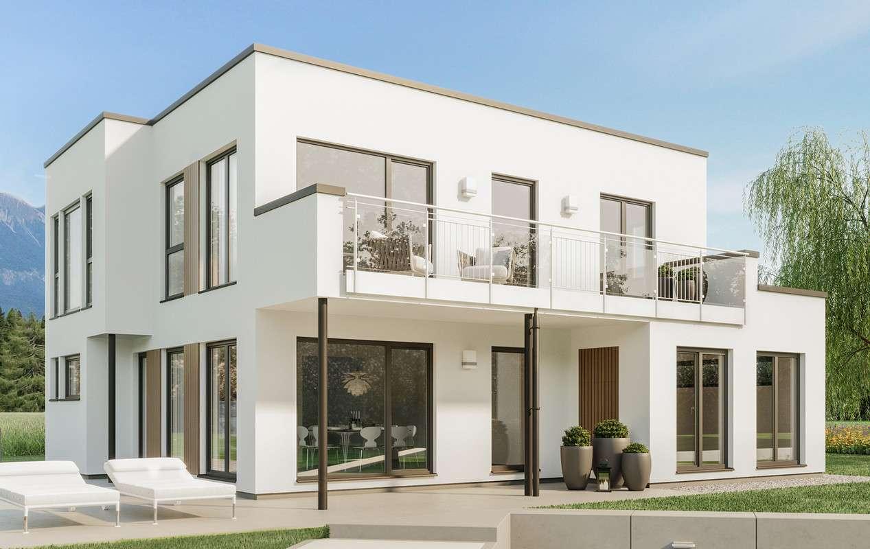 <p><strong>Helles Einfamilienhaus mit zwei Flachdach-Erkern mit Freisitz und Balkon</strong></p>