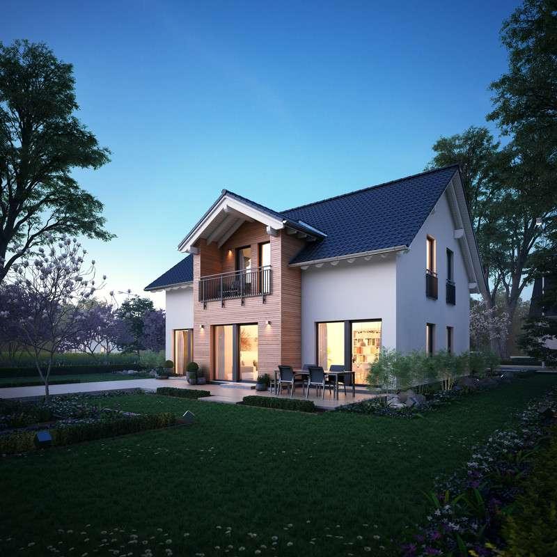 Moderne Fassade mit Naturholzelementen