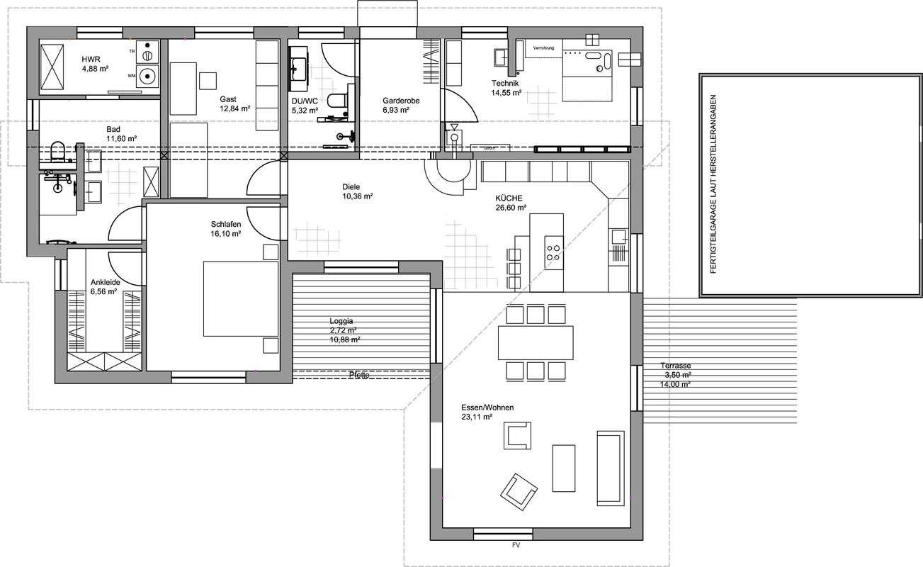 luxhaus bungalow pultdach 145 luxhaus anbieter. Black Bedroom Furniture Sets. Home Design Ideas