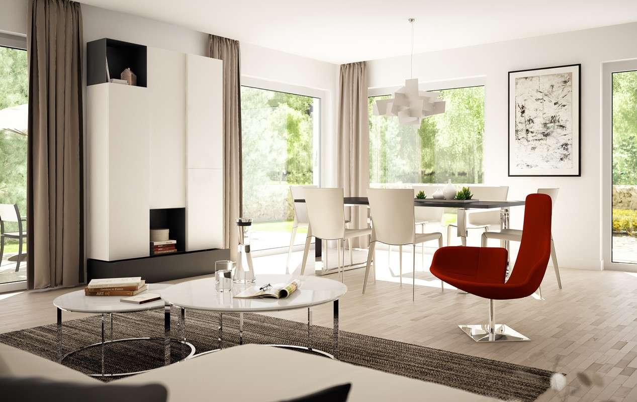 <p><strong>Schickes Einfamilienhaus mit Flachdach-Querhaus und -Rechteck-Erker</strong></p>