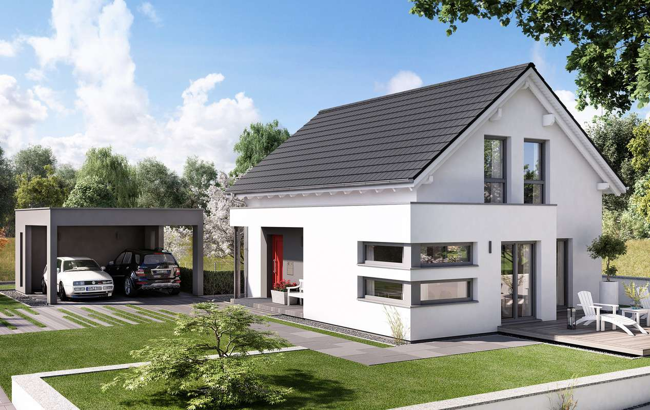 <p><strong>Traumhaus mit Übereck-Panoramaerker und Doppelcarport</strong></p>
