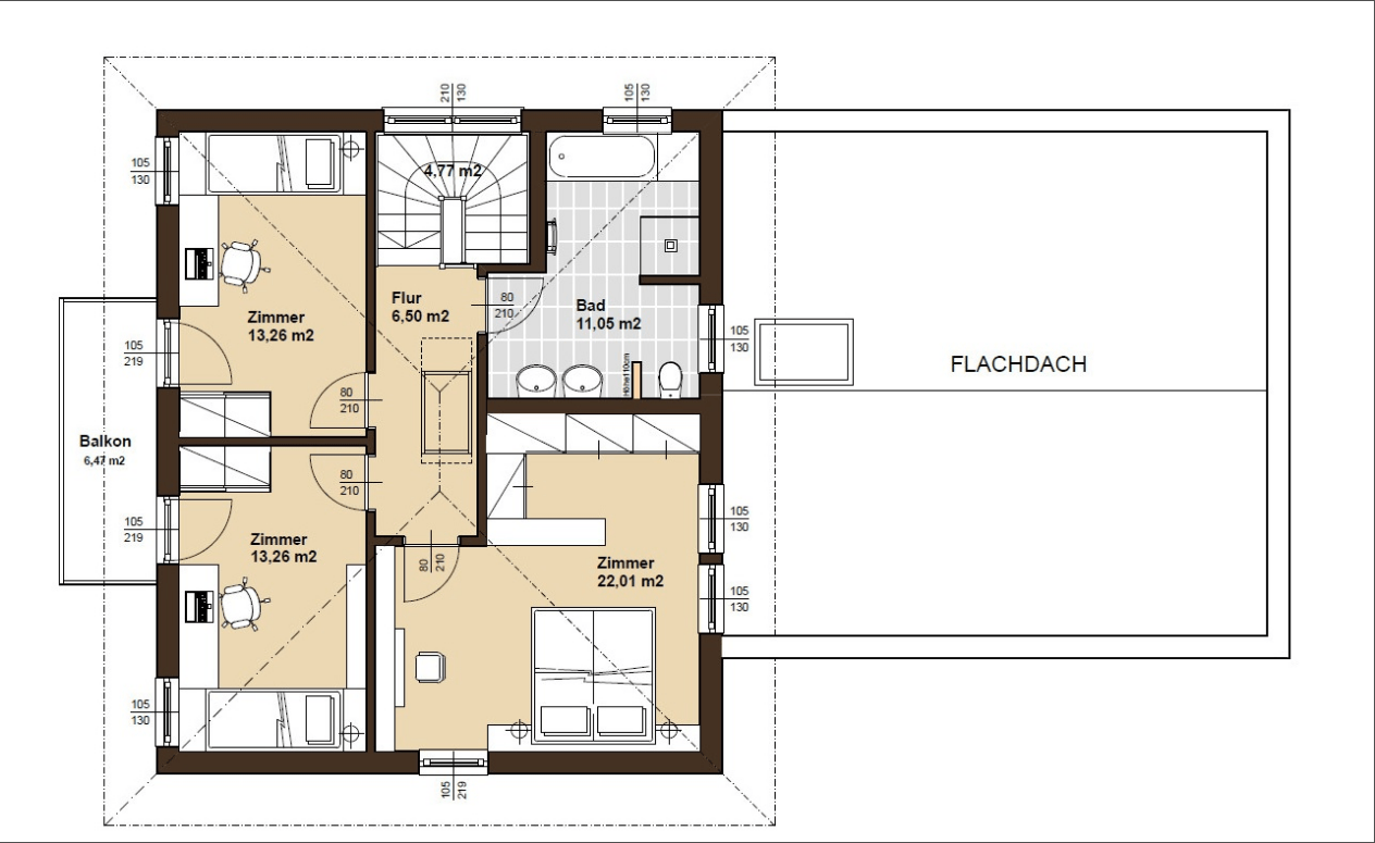 Der Grundriss des Obergeschosses des ELK Living 148 Musterhauses passt sich perfekt des Bedürfnissen seiner Bewohner an.