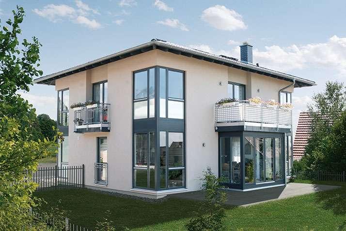 Eine villa als fertighaus gro z gige grundrisse - Fertighaus mit wintergarten ...