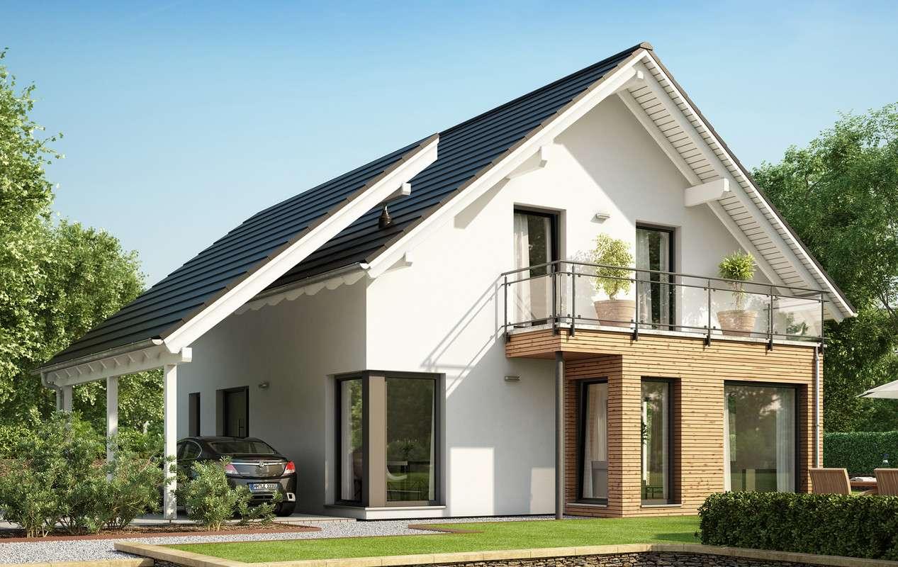 """<p><strong>Modernes Traumhaus mit Carport """"High"""" und Erker mit Balkon</strong></p>"""
