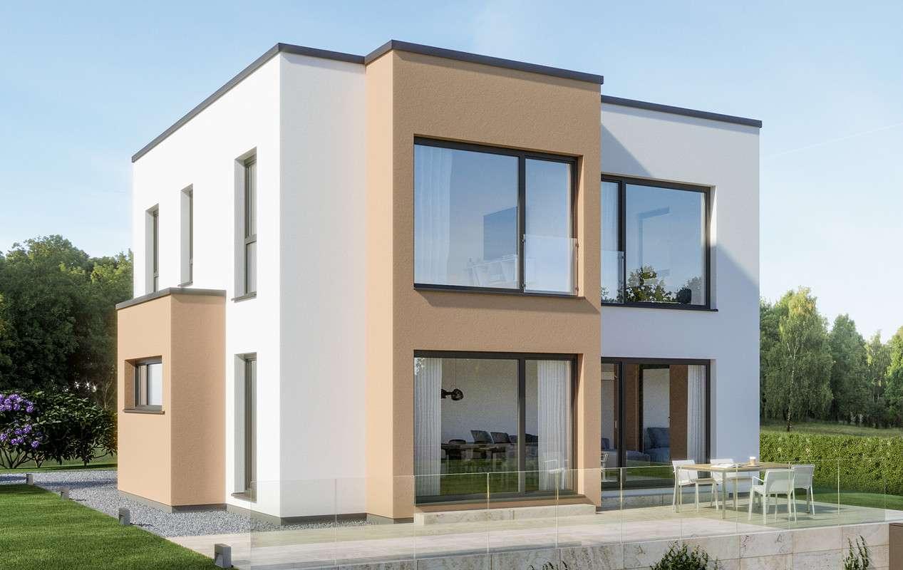 <p><strong>Modernes Flachdachhaus mit 2-geschossigem Panorama-Erker und Rechteck-Erker</strong></p>