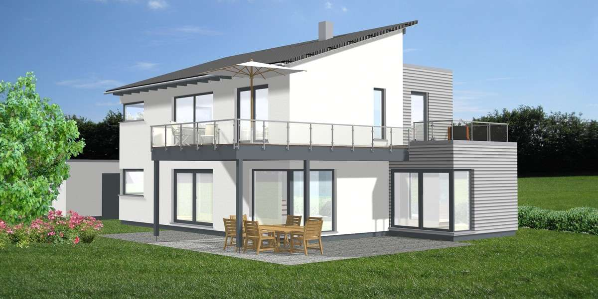 Fassade mit grauen Holzelementen