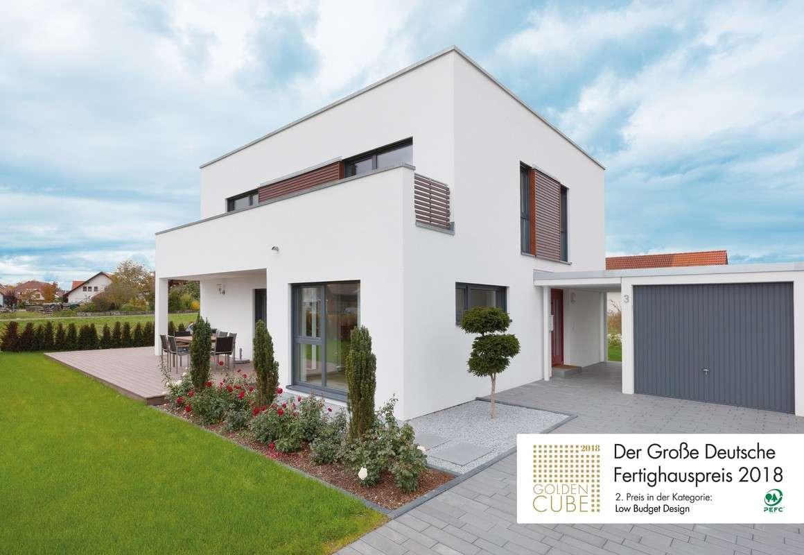 """TALBAU-Haus gewinnt mit dem Haus-UNIKAT U082 den 2. Platz beim Großen Deutschen Fertighauspreis 2018 in der Kategorie """"Low Budget Design"""" für ein sehr gutes Preis-Leistungsverhältnis."""