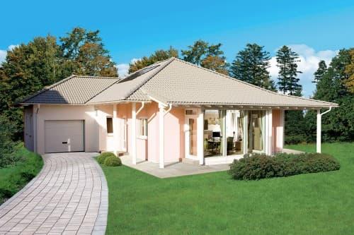 Bungalow mit rosa Fassade