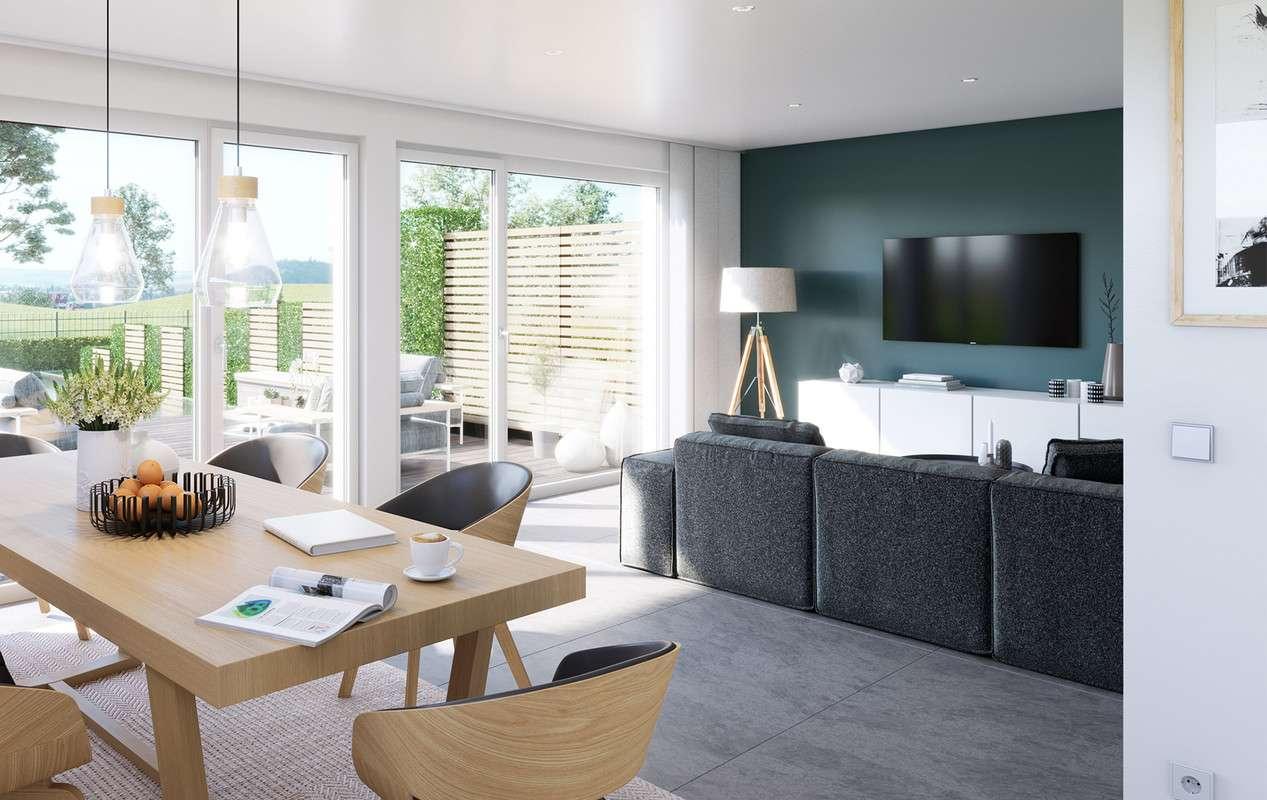 <p><strong>Modernes Konzepthaus mit hellem Wohn-Ess-Bereich und gemütlichem Wintergarten-Erker</strong></p>