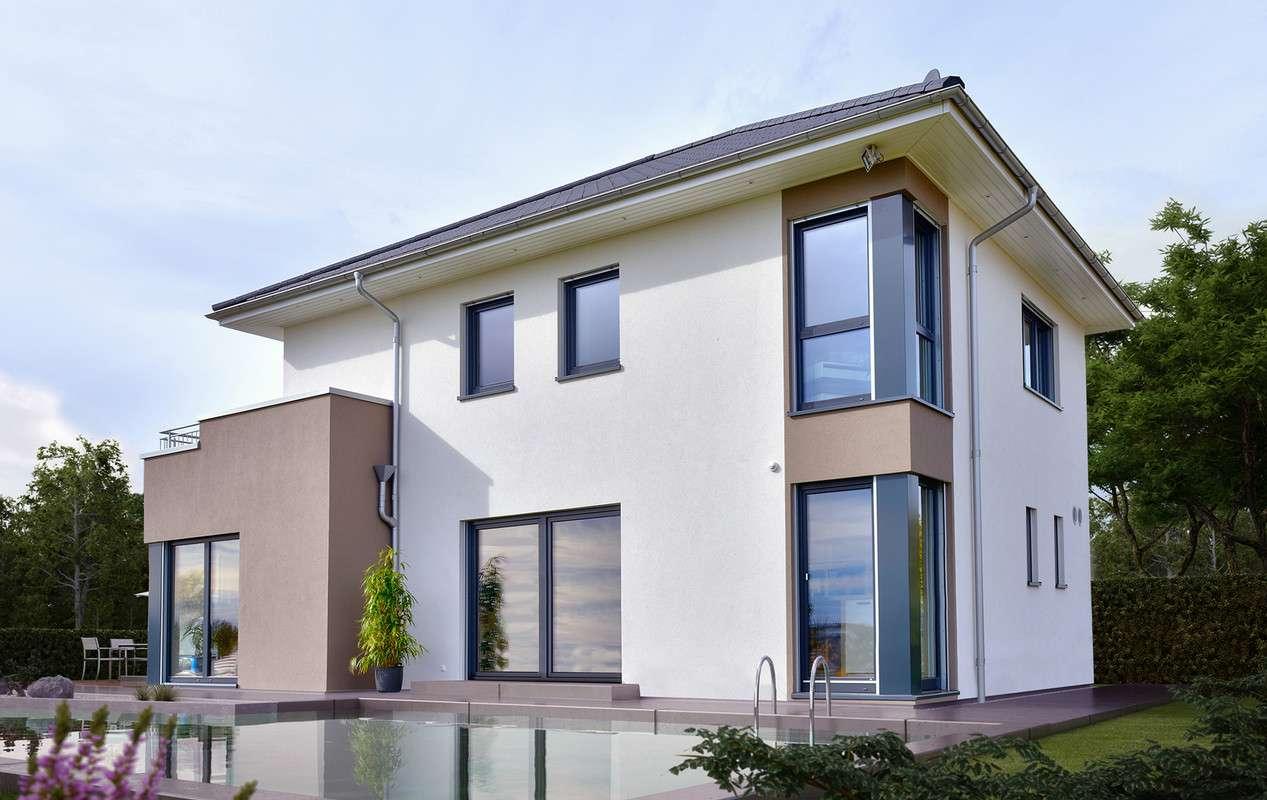 <p><strong>Moderne Design-Stadtvilla mit Übereck-Erker mit Balkon</strong></p>