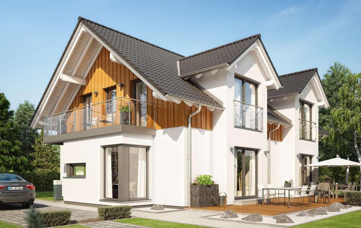 <p><strong>Attraktives Zweifamilienhaus mit 2 Satteldach-Querhäusern und Fassadenverkleidung aus Holz</strong></p>