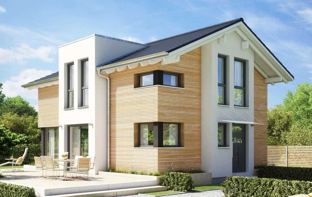 <p><strong>Modernes Einfamilienhaus mit Flachdach-Querhaus und Giebelerker</strong></p>
