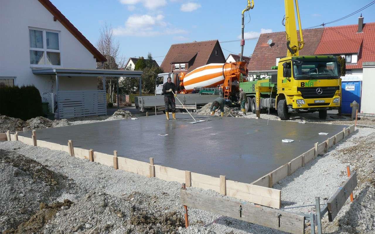 Solides Fundament auch mit Bodenplatte.