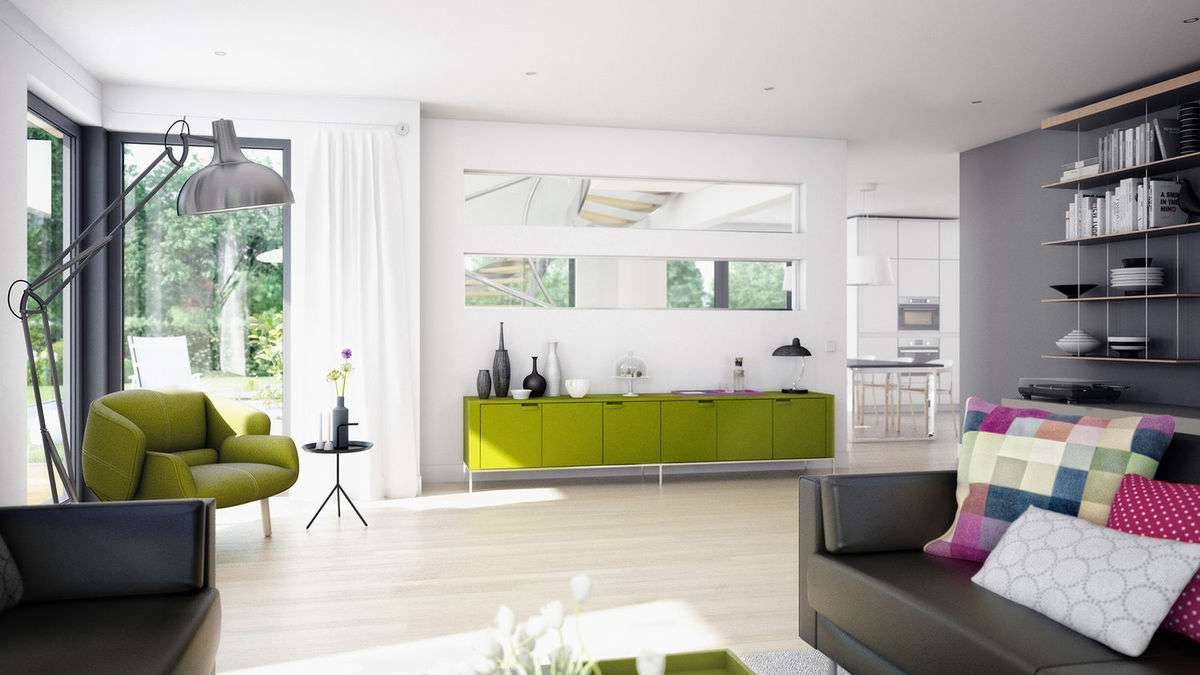 <p><strong>Elegantes Traumhaus mit Flachdach-Querhaus und innovativen Design-Eckfenstern</strong></p>