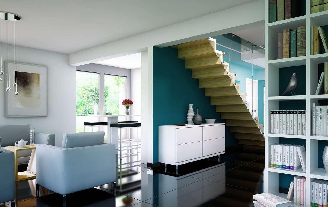 <p><strong>Komfortables Flachdachhaus mit Doppelcarport und Erker mit Balkon</strong></p>
