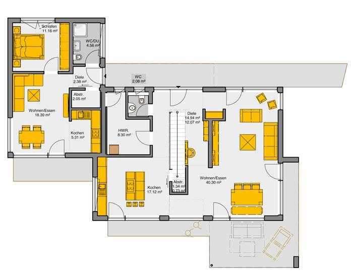 Der Erdgeschoss Grundriss des Büdenbender Musterhauses Vitalis in Günzburg ist ein Beispiel für moderne und kreative Grundrissplanung.