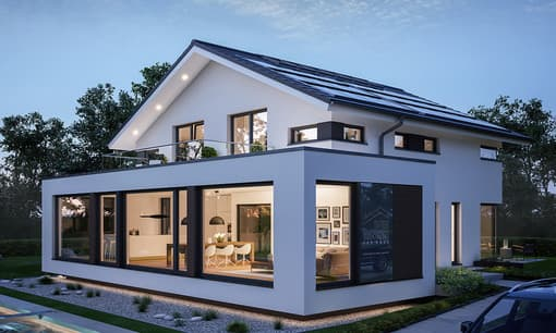 Das moderne und außergewöhnlich gestaltete Musterhaus von Bien-Zenker setzt Maßstäbe in moderner Fertighaus-Architektur.