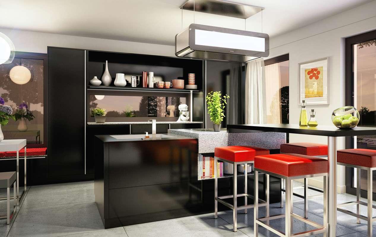 Küchendesign in schwarz