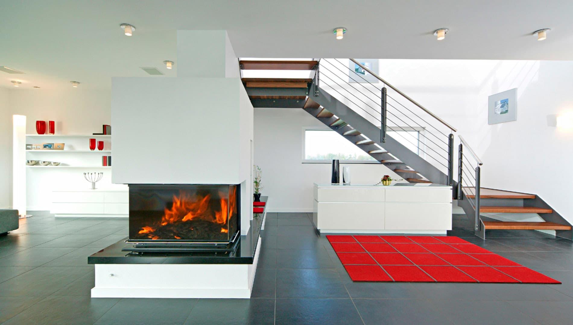 Musterhaus STYLE - Wohnzimmer mit Kamin