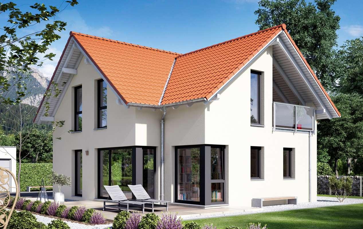 <p><strong>Schickes Einfamilienhaus mit Satteldach-Querhaus XL mit Loggia</strong></p>