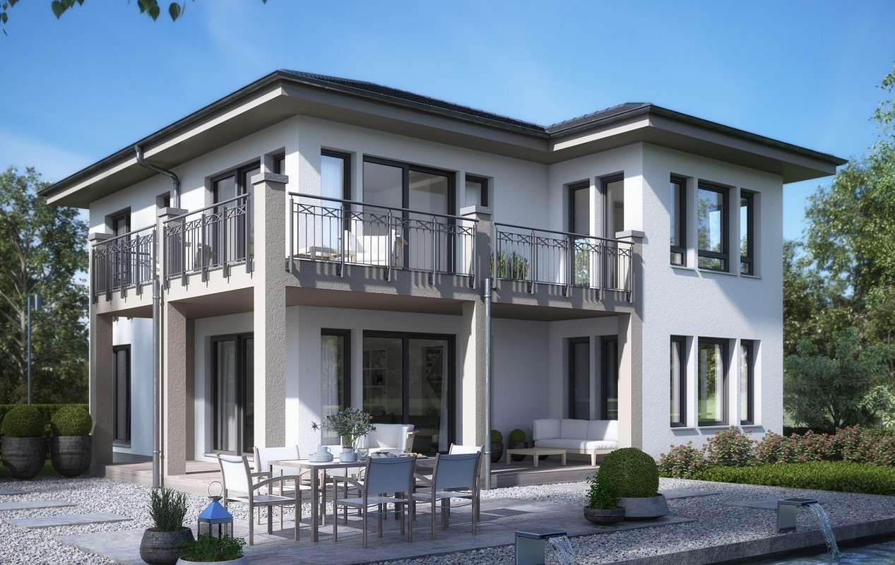 <p><strong>Jubiläums-Aktionshaus mit Walmdach-Querhaus und L-Balkon</strong></p>