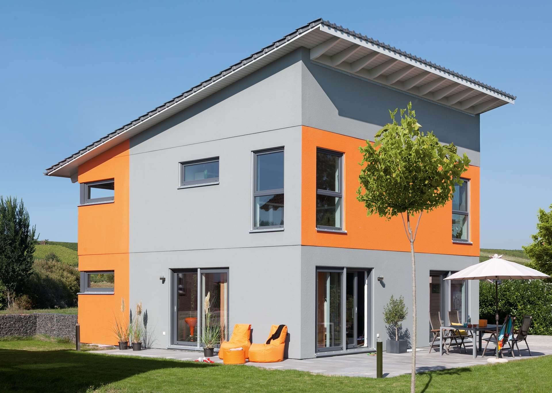 schw rerhaus fertighaus mit pultdach. Black Bedroom Furniture Sets. Home Design Ideas