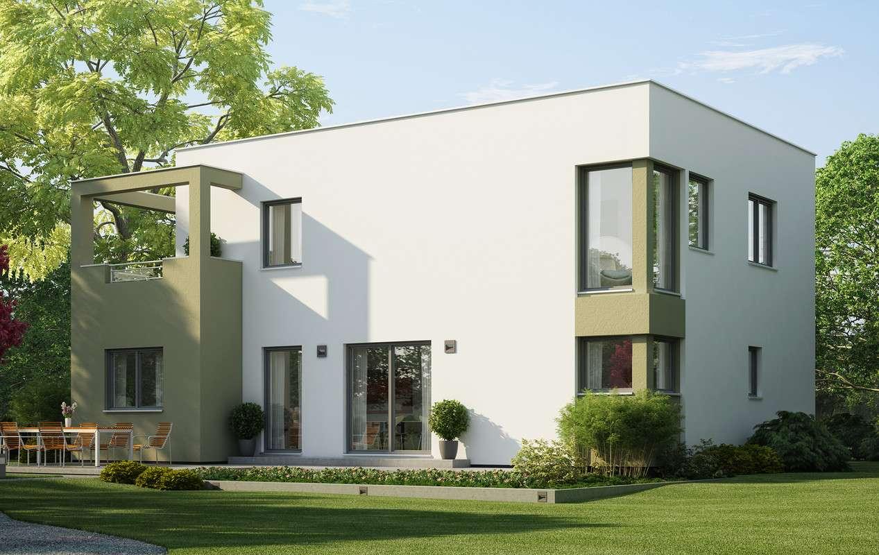 <p><strong>Modernes Einfamilienhaus mit Übereckerker mit Balkon und Pergola</strong></p>